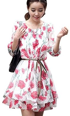 Women Chiffon Floral Print Long Sleeve Ruffle Casual Cocktail Short Dress L >>> To view further for this item, visit the image link.