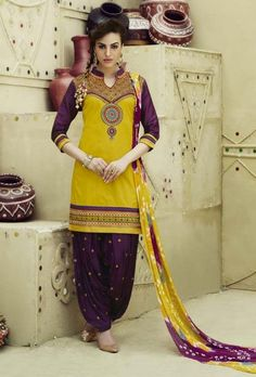 Yellow and purple patiyala suit with jaipuri dupatta
