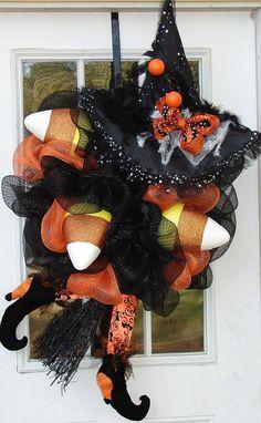 Candy Corn Witch Hallowen Wreath Fall