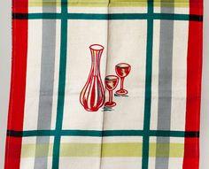 Vintage Tea Towel 50's Carafe and wine by KitchenStuffandSuch