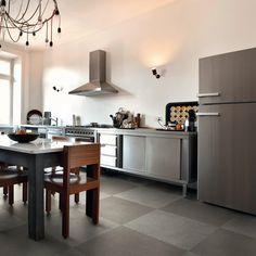 KITCHEN: Woman wallpaper on fridge by Big-trix. Concrete, Diy Projects, Wallpaper, Kitchen, Table, Furniture, Big, Grey, Home Decor