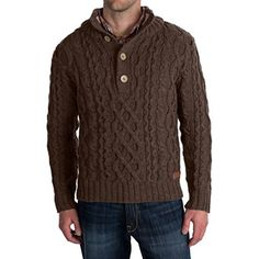 Peregrine by J.G. Glover Merino Wool Sweater - Chunky Cable (For Men) in Brown