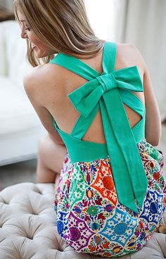 Green bow top.