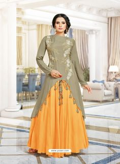Buy Designer Embroidery Work Gray and Orange Color Long Kurtis Online – Vesture Vogue Designer Party Wear Dresses, Kurti Designs Party Wear, Indian Designer Outfits, Designer Wear, Sleeves Designs For Dresses, Dress Neck Designs, Blouse Designs, Fancy Kurti, Heavy Dresses