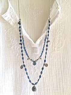 blue jean gypsy- double strand gemstone necklace london blue topaz silver chain charms flying fairy pendant sundance style boho