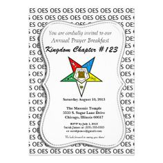 OES Order of the Eastern Star Invitation