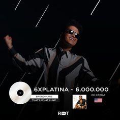 """Bruno Mars!!6.000.000  O smash hit """"That's What I Like"""", do #BrunoMars, foi certificado 6X platina nos EUA por 6 milhões de cópias vendidas."""