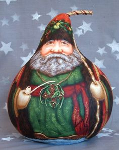 Welsh sion | Welsh Father Christmas, Sion Corn, hand painted gourd, 9 1/2 inches ...
