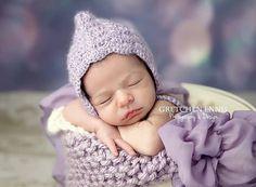 Crochet Shell Pixie Bonnet Crochet Pixie by LittleBittieBoutique, $24.00