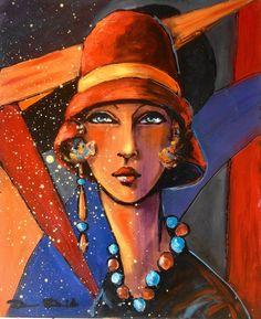 1925, Paris Opéra Garnier... (Peinture),  50x61 cm par Dam Domido portrait style art déco sur toile