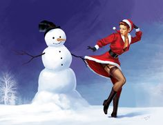 Just an Xmas card. An Xmas pin-up Merry Christmas, Christmas Humor, Christmas Themes, Vintage Christmas, Xmas, Naughty Christmas, Christmas Girls, Vintage Winter, Penguin Books