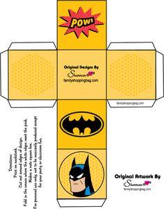 Caja Cubo para Imprimir Gratis de Batman.