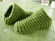 Toe Up Crocheted slippers Extra bulky yarn, Double strand or Chunky + P hook…