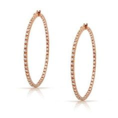 Bling Jewelry Rose Gold Colored Vermeil CZ Inside Out Hoop Earrings Sterling