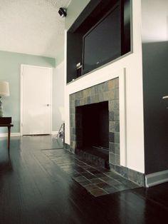 Fireplace Makeover: Removing a Brick Hearth and Retiling   myMCMlife.com