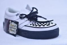TUK WHITE BLACK LEATHER WOVEN CREEPER SNEAKERS # A6063 MENS 12 EURO 45 NOS PUNK