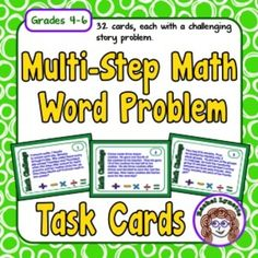 Each of these 32 Math Challenge Task Cards has a different multi-step math story problem. Students will use all four operations as they solve the problems. There are some that involve money, measurement, or elapsed time. Answers can all be expressed in whole numbers.
