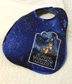 Quilted Baby Bib Star Wars Vintage Poster Starry Blue by lynndalou