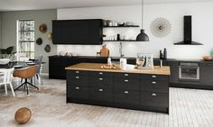 My future black kitchen from Epoq/Elgiganten. Household Furniture, Black Kitchens, Home Furnishings, Home Decor, Kitchen Dining, Home Kitchens, Modern Kitchen Design, Kitchen Design, Wrought Iron Wall Decor