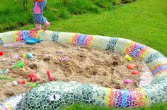 Sandkasten Mosaik Schlange, ein Traum jeden Kindes...