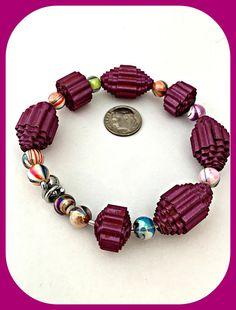 Eight Days A Week Memory Wire Paper Bead Bracelet