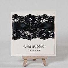 Black lace wedding invitation with black satin ribbon detail
