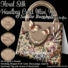 Floral Silk Handbag Card Mini Kit - Click Image to Close