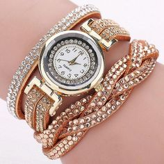 Watch - Bling Quartz Braided Leather Bracelet Watch - The Sparkle Place