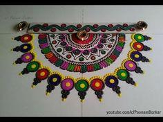 Easy multicolored semi circle rangoli design | Easy rangoli designs with colors - YouTube