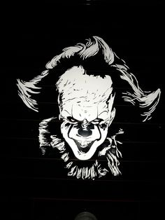 Pennywise+The+Dancing+clown+car+decal. This+decal+is+actually+really+fun. Its+handmade+for+your+ghoulish+needs. This+Decal+is+also+very+unique,+carwash+safe,+and+it+will+spook+little+kids+that+walk+pass+your+car. Halloween Pumpkin Carving Stencils, Pumpkin Stencil, Diy Vinyl Projects, Cnc Projects, Best Profile Pictures, Pennywise The Dancing Clown, Stencil Templates, Black And White Drawing, Silhouette Art