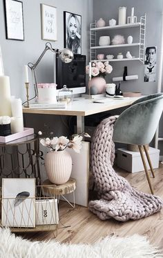 The Best DIY Inspiration That Will Keep Your Room Organized And Chic. Effortless ways to incorporate shabby chic organization hacks with floating shelves, folding shelves and furniture you can do your Home Office Design, Home Office Decor, Home Decor, Office Designs, Decor Interior Design, Room Interior, Diy Zimmer, Cute Room Decor, Shabby Chic Homes