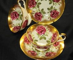 Paragon Set of 2 Collection Red Rose Chintz Roses Gold Tea Cup and Saucer   eBay