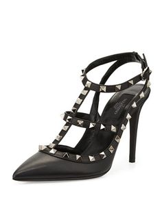 Rockstud Leather T-Strap Pump, Black by Valentino at Neiman Marcus.