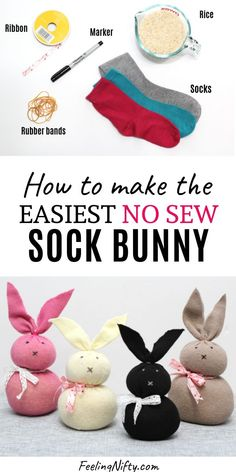 Easy DIY No Sew Sock Bunny perfect for Easter crafts or activity for kids. Use materials you already have at home. Easy DIY No Sew Sock Bunny perfect for Easter crafts or activity for kids. Use materials you already have at home. Bunny Crafts, Easter Crafts For Kids, Diy For Kids, Craft Ideas For The Home, Diy Crafts To Do At Home, Summer Crafts, Easter Activities For Kids, Den Ideas For Kids, Simple Craft Ideas