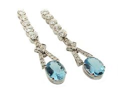 Platinum, Diamond & Aquamarine Drop Earrings Aquamarine Earrings, Aquamarine Blue, Blue Topaz, Drop Earrings, Vintage Jewellery, Antique Jewelry, Faberge Eier, Titanic Jewelry, Aquamarines