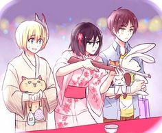 ATTACK ON TITAN (SHINGEKI NO KYOJIN), Eren, Armin, Mikasa