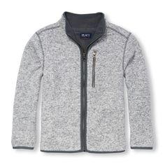 Boys Long Sleeve Full-Zip Fleece Lined Sweater Jacket