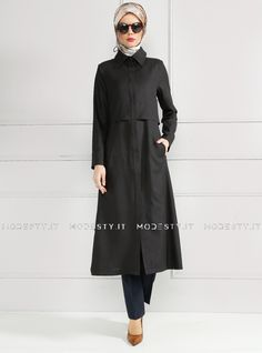 islamische kleidung fuer frauen mymodestystyle.com besuchen sie unsere shop #hijab #abayas #tuekische kleider #abendleider #islamischekleidung  Hidden Button Topcoat - Black - Refka - <p>Fabric Info:</p> <p>100% Polyester</p> <br> <p>Unlined</p> <p>Weight: 0.566 kg</p> <p>Measures of 38 size:</p> <p>Height: 123 cm</p> <p>Bust: 92 cm</p> <p>Waist: 84 cm</p> <p>Hips: 98 cm</p> - SKU: 185231. Buy now at http://muslimas-shop.com/hidden-button-topcoat-black-refka.html
