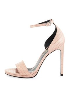 Saint Laurent  Lizard-Embossed d'Orsay Sandal, Rose $895