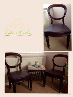Pair of balloon back chairs and london fabric galleried stool, contact me at www.facebook.com/madeinlincoln