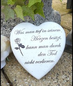 Grabstein / Herz mit Spruch – 14 cm – Kränze – Garten & Floristik – Mit Liebe h… Grave stone / heart with saying – 14 cm – Wreaths – Garden & Floristry – Handmade with love in Weida, Germany by Papillon Design Cemetery Decorations, Funeral Arrangements, Cottage Garden Design, Memorial Stones, Window Signs, Christmas Labels, Color Meanings, White Concrete, Money Quotes