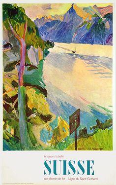 Vintage Railway Travel Poster - Switzerland -  by Katharina Anderegg - 1960.