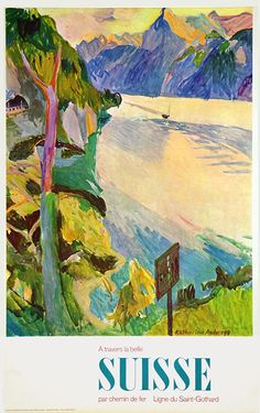 Vintage Railway Travel Poster - Switzerland - by Katharina Anderegg - 1960.