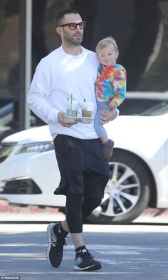 Daddy's little girl! Adam Levine went on his usual coffee run with daughter Dusty Rose in Los Angeles on Tuesday