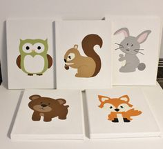 woodland animals nursery paintings, PICK 3 8x10 paintings, woodland animals decor, fox bear owl decor, acrylic woodland animal paintings via Etsy