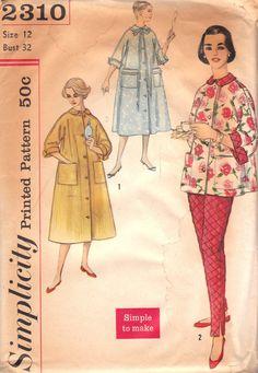 1950s Robe & Lounging Pajamas Pattern by Simplicity 2310