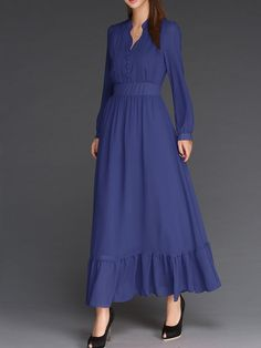 Cheap women chiffon dress, Buy Quality sleeve dress directly from China maxi boho dress Suppliers: 2017 Summer women chiffon dress stand long sleeve dress robe boheme Floor-Length maxi boho dresses solid vestidos dress Trendy Dresses, Modest Dresses, Modest Outfits, Simple Dresses, Muslim Fashion, Modest Fashion, Hijab Fashion, Fashion Dresses, Hijab Mode