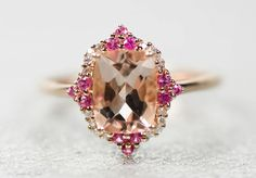 14k Rose Gold Genuine Morganite, Diamond and Pink Sapphire Ring , - Sparkle & Jade - 3