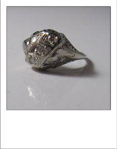 Antique Art Deco 14k Diamond Filigree Large Dinner Ring by BellaJewelryShop on Etsy
