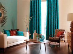 Feature wall and turquoise curtains